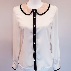 Forever 21 Ivory Collar top Jewel button down